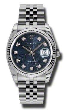 Rolex Edelstahl Automatisch Datejust Diamant Jubilee Stahl Uhr Blau Zifferblatt