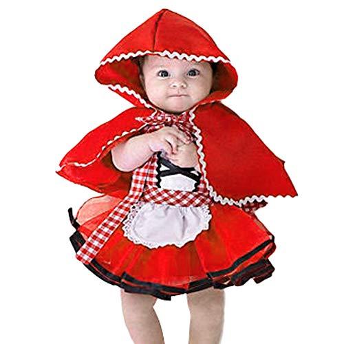IBTOM CASTLE Disfraz Caperucita Roja Traje del Vestido Niña Bebé Ropa Recien Nacido Vestido Infantil Disfraz 2-3 Años
