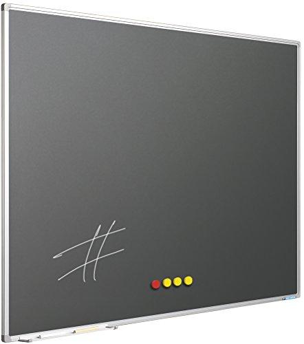 Softline, Lavagna a gesso con cornice da 8 mm, in acciaio smaltato, colore: grigio 100 x 200 cm grau
