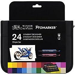 Winsor & Newton ProMarker - Pack de 24 rotuladores de diseño para estudiantes, multicolor
