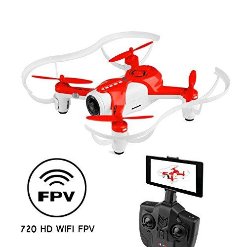 RC Quadcopter WINGLESCOUT Drone con Fotocamera 720P WiFi Elicottero Live Video Controllo Remoto/modalità di Controllo della gravità per Bambini(Nuova Versione) -Rosso