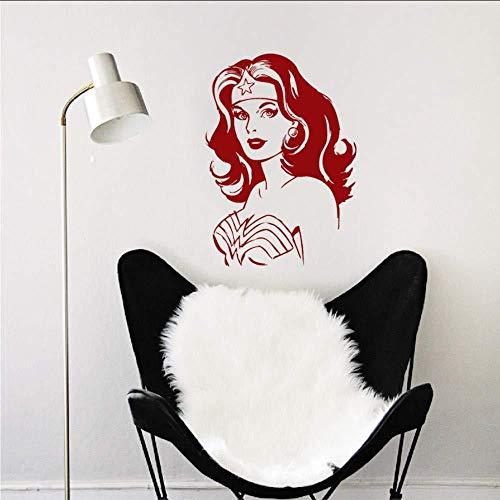 Wonder Woman Adesivi murali Soggiorno Divano Backgroud Dekor ating Arte rimovibile Wall Sticker...