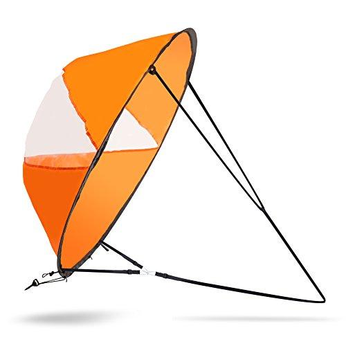 Vela de Viento 42 inch Vela de Kayak Vela de Sotavento Plegable para Canoas Botes