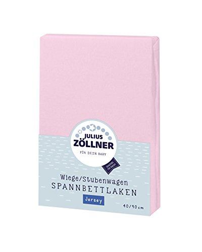 Julius Zöllner 8330047760 Jersey Spannbetttuch für Wiegen 90x40 und Stubenwagen, Farbe: rosa