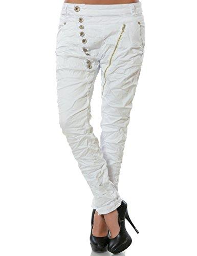 Damen-Boyfriend-Jeans-Hose-Reiverschluss-Knopfleiste-weitere-Farben-No-14145-FarbeWeiGre42-XL