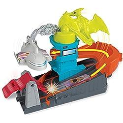 Mattel Hot Wheels-City Dino-Ataque al Aeropuerto, Pistas de Coches de Juguetes niños +4 años GBF94