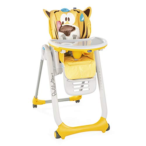 Chicco Seggiolone Polly 2 Start con 4 Ruote, Compatto, Reclinabile 0 Mesi +, Peaceful Jungle