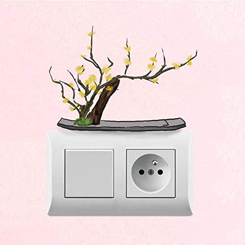 Nxcsb Etiqueta De La Pared Pintado A Mano Flor del Ciruelo Bonsai Diseño De Estilo Clásico Habitación De PVC Decorativo Hermoso Interruptor Sticker3Pcs / Set