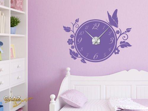 Vinilo de pared: Decoración de pared con reloj mariposa Para el salón los dormitorios (reloj=Plata cepillada//Color=042 Lila)