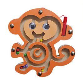 HappyToy Mini Animal Round legno magnetico bacchetta Numero labirinto interattivo labirinto perline