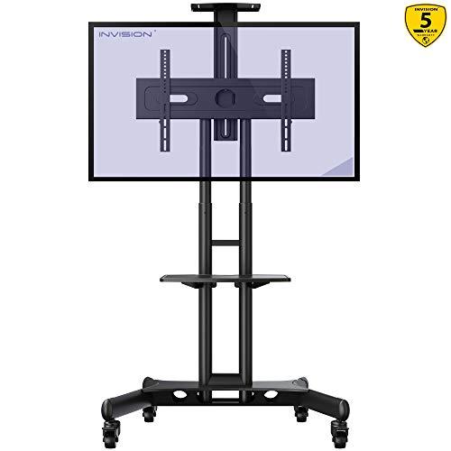 Invision Supporto TV da Pavimento con Ruote Carrello Staffa Porta Mobile Stand Orientabile...