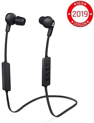 ⭐️KLIM™ Pulse Bluetooth 4.1 In-Ear Kopfhörer - Neue 2019 - Kabellose Kopfhörer – Geräuschreduzierung – Perfekt für Sport, Musik, Anrufe, Gaming, etc. Magnetisch + Neue Memory Schaum Ohrstöpsel Schwarz