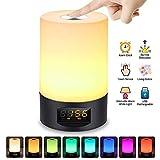 Réveil Lumière, SOLMORE Lampe Matin Lampe de Chevet Réveille RGB Tactile de Table Avec USB Rechargeable 3 Luminosité 7 Couleur 6 Sonnerie Naturel Réglable Multicolore
