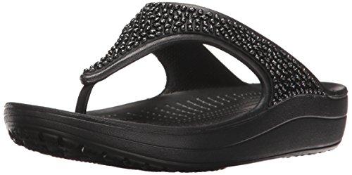 Crocs Sloane Embellished Flip W, Sandali con Plateau Donna, Nero Black 060, 41/42 EU