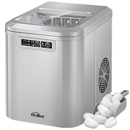 Machine à Glaçons, Machine à Glace Professionnel 500W avec Quick Ice tech, Faire de la Glace en seulement 6-10 Minutes, Réservoir d'eau 2,2 Litres, 12KG de glace par jour, Indicateurs LED, de Kealive