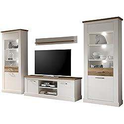 trendteam Wohnzimmer 4-teilige Set Kombination Toronto, 340 x 210 x 52 cm in Korpus Pinie Weiß, Absetzung Nussbaum Satin Dekor im Landhausstil