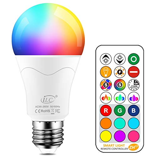 iLC 85W Equivalente Lampadine Colorate Led RGBW Cambiare colore Lampadina E27 Edison RGB LED Lampadine Led a Colori Dimmerabile Telecomando Incluso