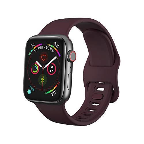 Dee Plus Cinturino di Ricambio Compatibile per Cinturino Apple Watch 38mm 42mm 40mm 44mm, Nuovo Cinturino Morbido di Ricambio in Silicone per iWatch Series 5/4/3/2/1, Proteggi Schermo Regalo