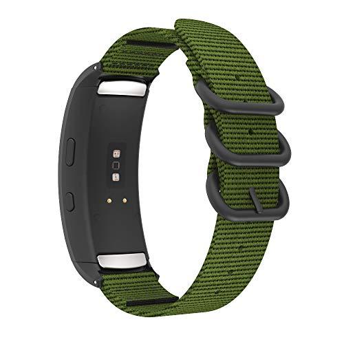 MoKo per Samsung Gear Fit 2 SM-R360 / Gear Fit 2 PRO SM-R365 Cinturino, Anello Doppio Fibbia Braccialetto di Ricambio in Nylon - Army Green
