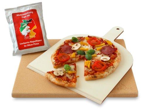Vesuvo Pizzastein - 1,5 cm Dicke mit Pizzastein und Pizzamehl thumbnail