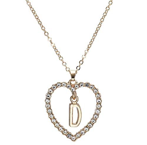 The Dance Bible Gold Sterling Silver Rhinestone Romantic Love Pendant Necklace with D Alphabet Lettering Chain for Men and Women