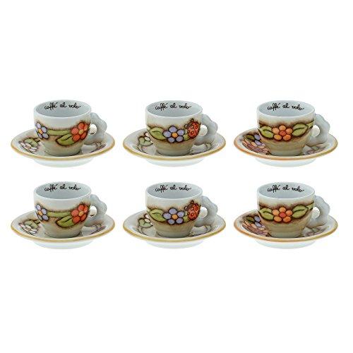 THUN Country Confezione 6 Tazzine Espresso, Porcellana, Multicolore, 41.8 x 29.8 x 11 cm