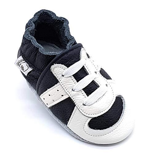 LEPEPPE - Scarpine in Pelle Prima Infanzia - Pantofole Babucce - Neonato - Nido - Materne Danza - Primi Passi Fino al 32/33!!! Runner Sneakers Scarpa da Ginnastica Nera (XL (15,5 cm di Suola))