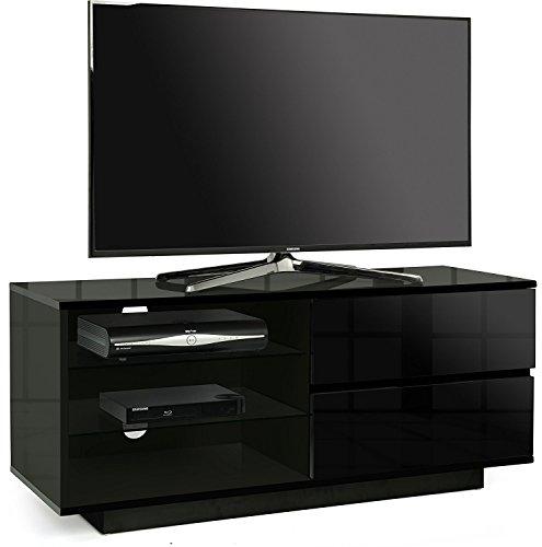 Centurion, Gallus, ripiano per TV LED/LCD/Plasma da 26' a 55', Nero Lucido, con 2 cassetti Neri e 3...