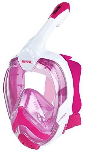 Seac Magica, Maschera Snorkeling Full Face Integrale con Morbido Facciale in 2 Taglie Unisex Adulto, Bianco/Rosa, S/M