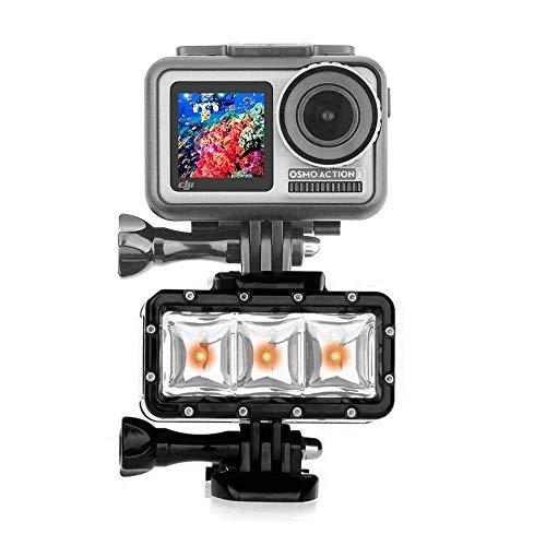 iEago RC Luce subacquea alta Potenza Dimmerabile Impermeabile Luce Video a LED da 300 lumen Riempi la Luce Subacquea Notturna per DJI OSMO Action/Gopro Hero 3 4 (100 piedi di profondità).