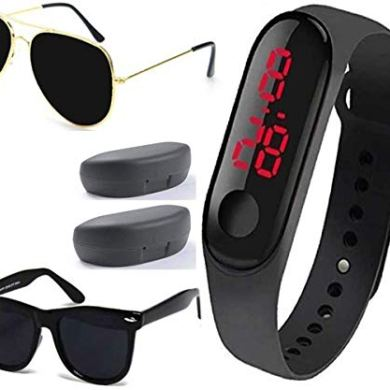 Sheomy New Arrival Special Collection Black Color Unisex Silicone Rubber Touch Screen Digital Watch LED Band Wrist Watch with Sunglasses Combo Ideal for Boys, Girls, Men, Women 10