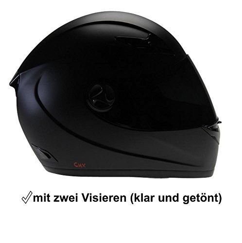 Motorradhelm Integralhelm CMX Blacky L Schwarz Matt mit Visier Klar und Getöntem Zusatzvisier 1