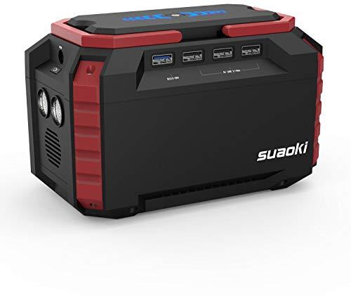 SUAOKI - 150Wh Generador Portátil Solar, Estación Almacenamiento Suministro de Energía Potencia (Carga QC3.0 con una AC 220V Salida, 4 Puertos USB, linternas LED Emergencia para Camping, Senderismo)