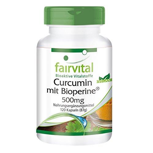 Curcumin Kapseln mit Bioperin 500mg, 120 Kapseln - VEGAN - Curcuma-Extrakt mit 95{bca4ca0c40065549f9069c33b14d7b10c12702c57f27da951ecbde7756ae17cf} Curcuminoide