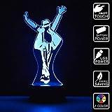Figurine Michael Jackson 3D Lampes Illusions Optiques 7 couleurs Changement Tactile Interrupteur Lumière De Nuit Art Déco