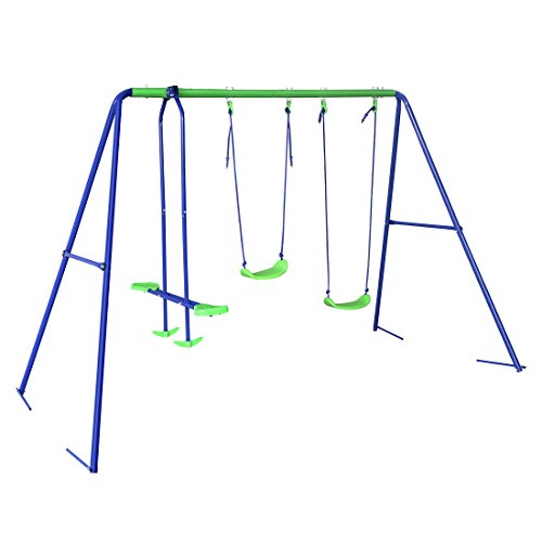 The HLC Outdoor Children's Swing Set & Seesaw has a lightweight metal construction that makes for easy assembly. It can comfortably handle four children at a time as long as they are between 3 to 8 years. The seesaw is a good addition to a structure that would've been simply a 'swing set'. It helps increase the capacity of this structure without soaring the price. Without any serious drawbacks, this is a massive bargain.