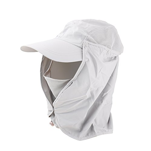 360-degree Nylon Outdoor Sun Protection Hat with Face Protector for Unisex (Grey)