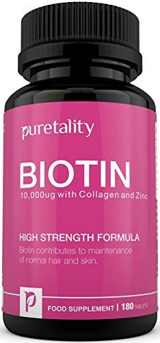 Hochdosiertes Biotin 10.000 mcg mit Zugesetztem Kollagen, Zink und Vitamin C, Vitamin B7 Trägt zu Gesundem Haar, Gesunden Nägeln & Haut bei - Doppelte Stärke im Gegensatz zu 5.000 mcg Anbietern