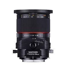 Samyang F1110901101 - Objetivo fotográfico DSLR para Canon EF (Distancia Focal Fija 24mm, Apertura f/3.5-22 T/S ED AS UMC, diámetro Filtro: 82mm), Negro