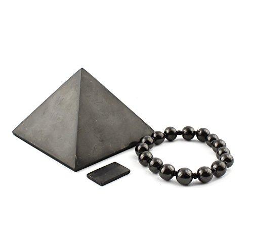 Set di protezione Shungite EMF: piramide 8 cm, piastra telefonica, braccialetto - protezione EMF, patch cellulare, neutralizzatore, antiradiazione, adesivo - garanzia di autentico qualità Shungite