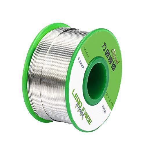 Filo per Saldatura Senza Piombo 0.8 mm Solder Wire con Nucleo Colofonia per Lavori di Saldatura Elettronica per Microsaldature Saldature Saldare 100g
