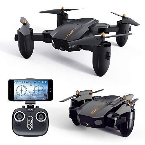 Drone GPS con Videocamera HD WiFi FPV RC Quadricottero Telecomandato con Funzione Regolabile Camera Seguimi Altitudine Attesa Senza Testa E Controllo di più Lunga Distanza Nero