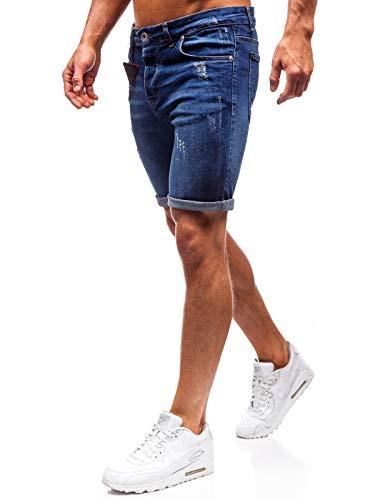 BOLF Pantaloncini Corti - Jeans - A Bottone - Decorato - Stile Casual - da Uomo The Gangster 1059 Blu L [6F6]