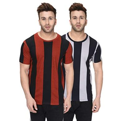 London Hills Men's Half Sleeve 100% Pure Cotton Vertical Stripes Printed Cotton T-Shirts (Combo Pack of 2) 8