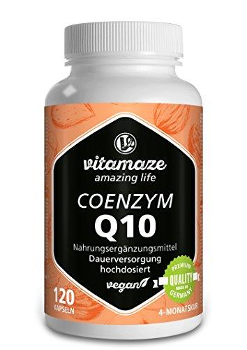 Vitamaze Coenzima Q10 200 mg per capsula - vegano - 120 capsule per 4 mesi - la migliore biodisponibilità - Prodotto in Germania - senza stearato di magnesio