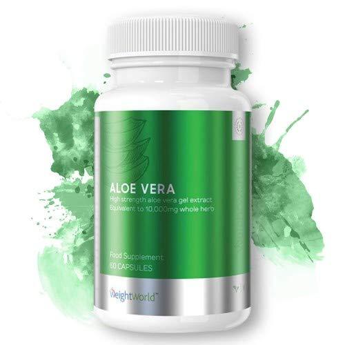Aloe Vera in Capsule - Aloe Pura in 10,000mg per Porzione, Vegan, Vegetariano, Supporta la Digestione, Senza Aromi Forti, Idrata, Benessere Generale, Vitamina C per Immunità - 60 Capsule - WeightWorld