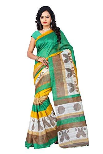 Saree(Devpriya fashion women Green color saree with blouse piece)
