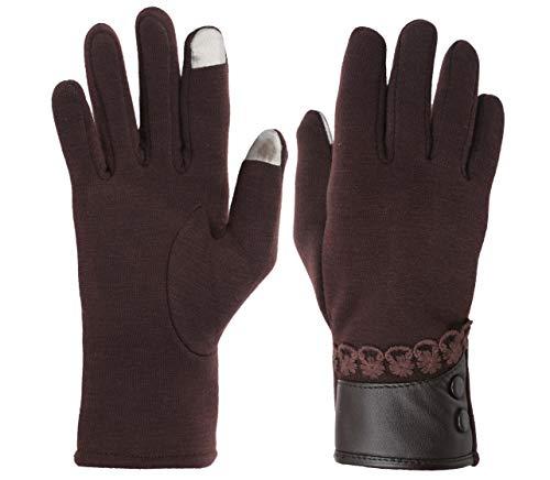 FabSeasons Women's Woollen Winter Gloves with Touchscreen Fingers (Brown, Free Size)