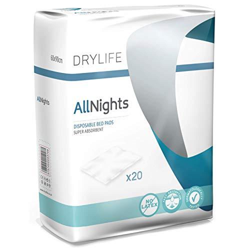 Drylife All Nights Monouso Traverse Salvaletto Coprimaterasso per Incontinenza - 60x90cm (Confezione...