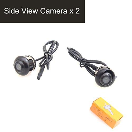 Cocar Auto Telecamera Lato Vista con Angolo di Visuale di 360 Gradi, Immagine Speculare Senza Griglia Lines, 22.5mm Hole Saw - Confezione da 2